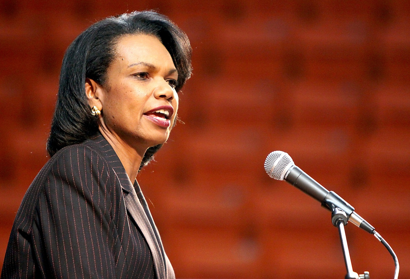 Former Secretary of State Condoleeza Rice discusses politics during a Global Briefing Series discussion at Gallagher-Iba Arena in Stillwater, Okla. on Thursday, Feb. 4, 2010.