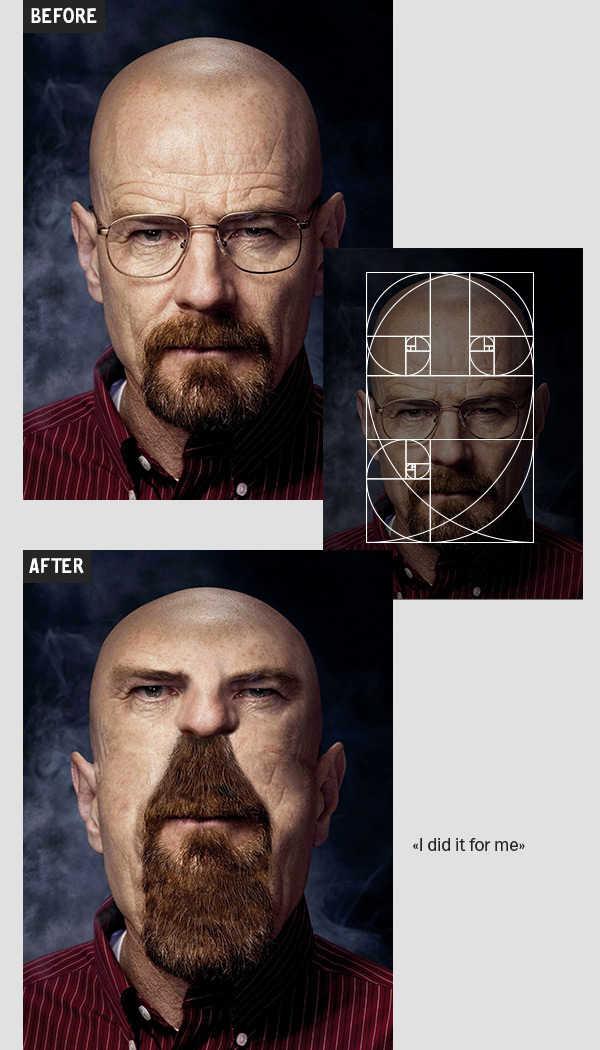 Portrait of Brian Cranston, before and after conforming to the Golden Ratio/Fibonacci Spiral, Picture Credits: Igor Kochmala