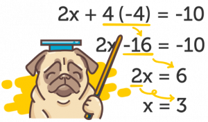 Puggy teaching steps for a math equation
