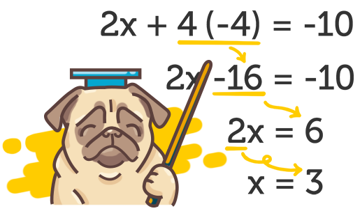 Illustration of a pug teaching how to do maths
