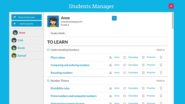 screenshot of StudyPug interface: student manager